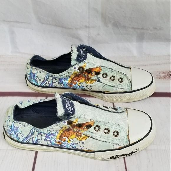 d7888bd951a6b9 Ed Hardy Shoes - Vintage 2008 Ed Hardy Koi Slip on Tennis Shoes